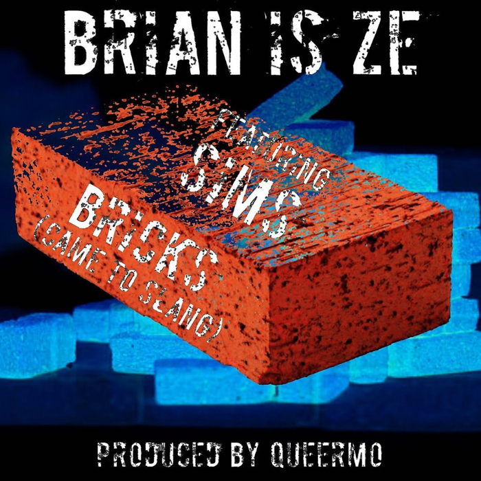 "Promotional image for ""Bricks."" Illustration of a rubber stamp-style brick with the text ""Brian is Ze featuring Sims. Bricks (Came to Slang). Produced by Queermo."""