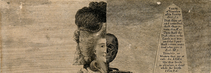 Detail of an illustration from Valentine Green.  Public domain, acquired from Public Domain Review. Image of a Victorian woman's head wearing a large wig with ostrich feathers. The other half of her head is a skull. There is a portion of a poem next to them.